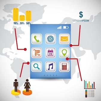 Design de aplicativos móveis de papel de parede infográfico