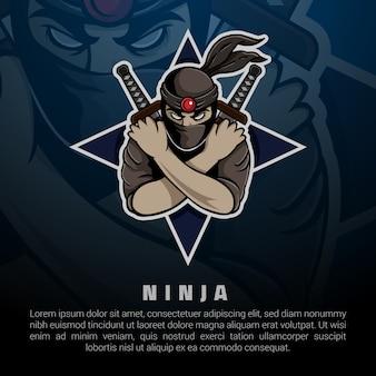 Design de apresentação de logotipo ninja
