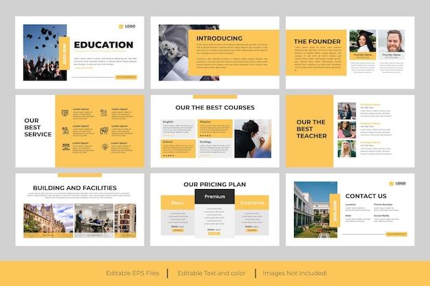 Design de apresentação do powerpoint para educação ou design do apresentações google