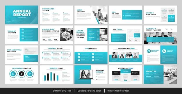 Design de apresentação em powerpoint do relatório anual