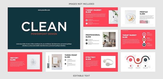 Design de apresentação multiuso clean blue e red
