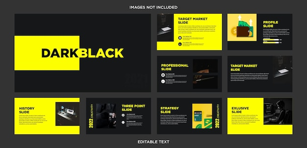 Design de apresentação multiuso em preto escuro e amarelo