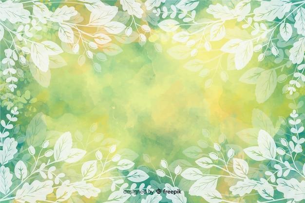 Design de aquarela de fundo de folhas de outono