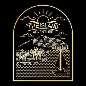 Design de arte de linha de ilha tropical de aventura