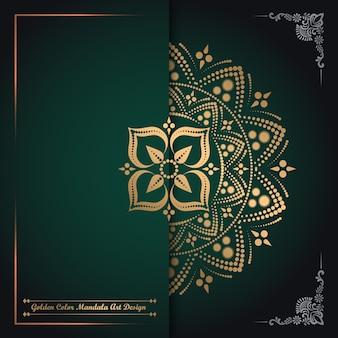 Design de arte de mandala de cor dourada