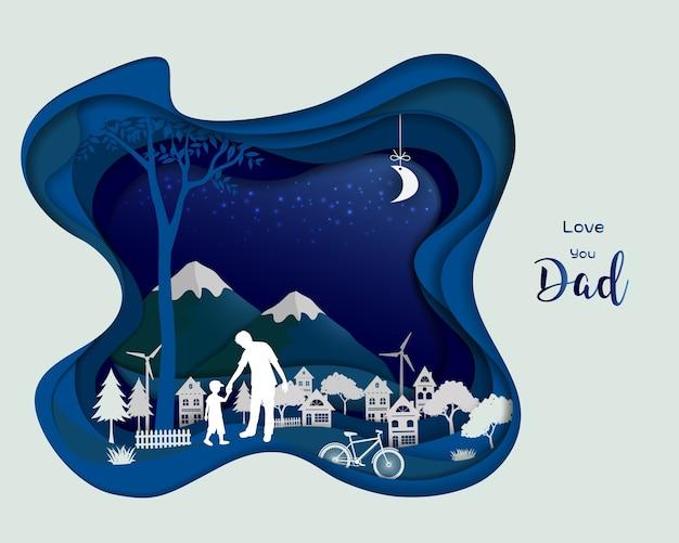 Design de arte de papel em fundo azul escuro