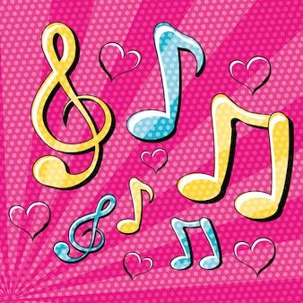 Design de arte pop com notas musicais ao redor