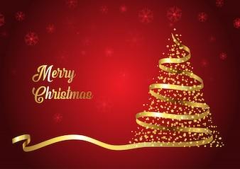 Design de árvore de Natal de fita de ouro