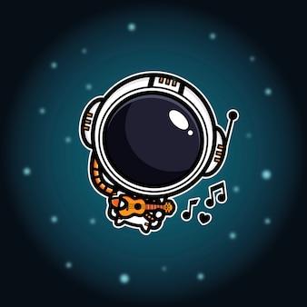 Design de astronautas tocando cavaquinho