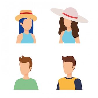 Design de avatar de mulheres e homens