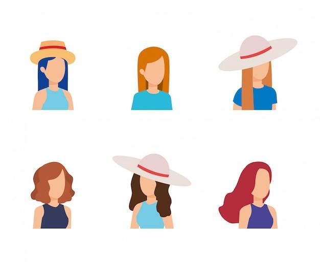 Design de avatar jovem de mulheres