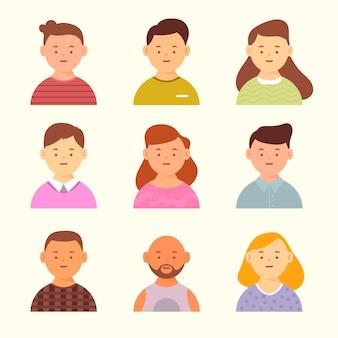 Design de avatares para diferentes homens e mulheres