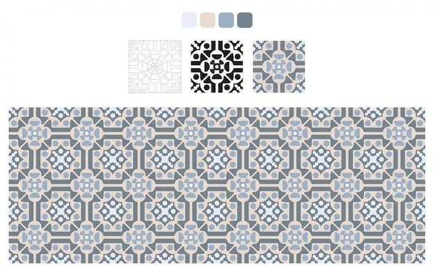 Design de azulejos azuis e cinza. padrão de piso. elementos decorativos vintage.