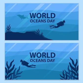 Design de backround do dia mundial dos oceanos