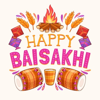 Design de baisakhi feliz desenhados à mão
