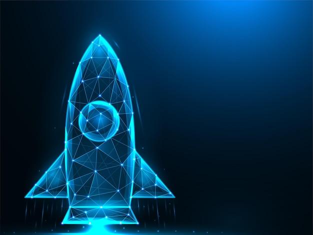 Design de baixo poli foguete. lançamento do ônibus espacial poligonal.