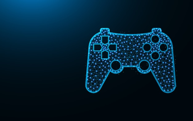Design de baixo poli joystick, imagem geométrica abstrata do console de jogos, ilustração em vetor poligonal dispositivo wireframe malha poligonal feita de pontos e linhas