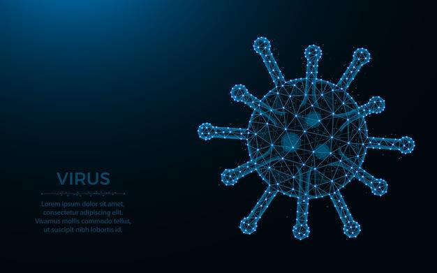 Design de baixo poli vírus, bactéria ou micróbio wireframe malha poligonal ilustração feita de pontos e linhas de fundo azul escuro