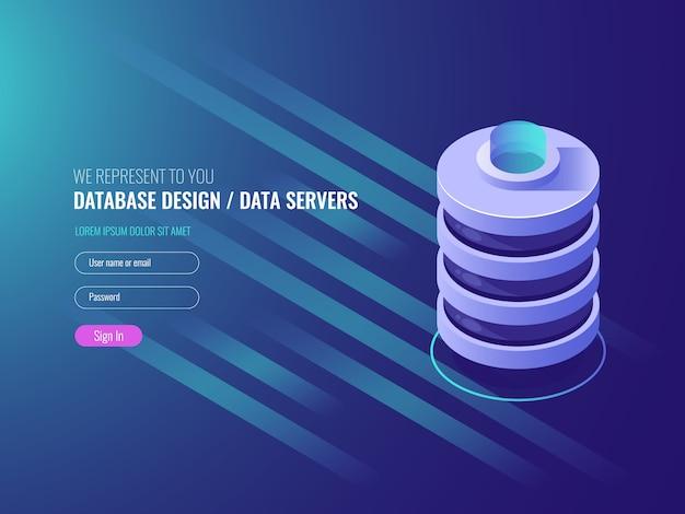 Design de banco de dados, ícone de rack de sala do servidor conceitual, centro de dados