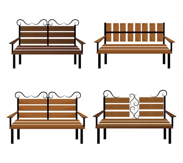 Design de banco de madeira.