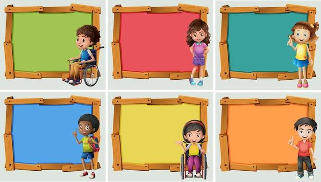 Design de bandeira com muitas crianças