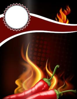 Design de bandeira com pimenta quente e fogo