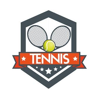 Design de bandeira de bolas de raquete de tênis