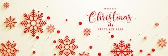 Design de bandeira de Natal lindo sbowflakes vermelho