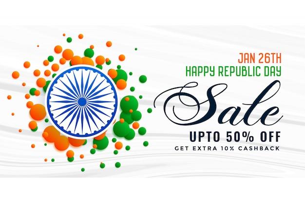 Design de bandeira de venda de dia da república feliz india