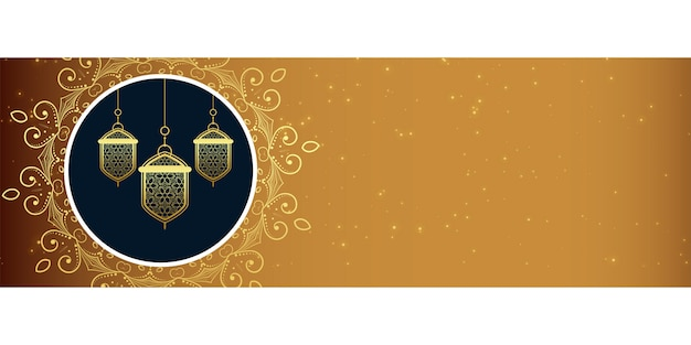 Design de bandeira decorativa de lâmpadas islâmicas