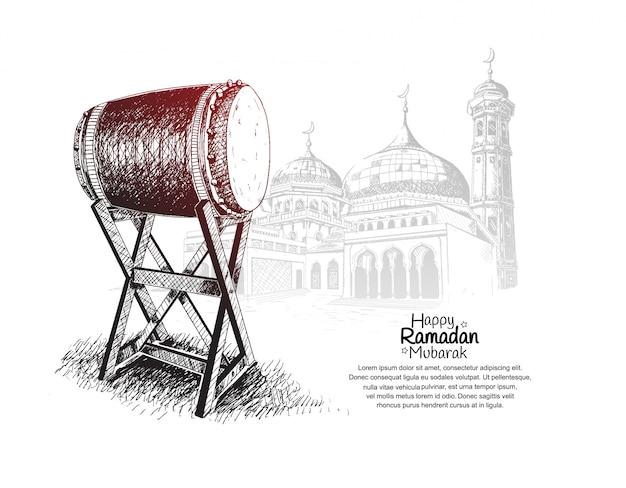 Design de bandeira feliz ramadan mubarak com bedug e mesquita