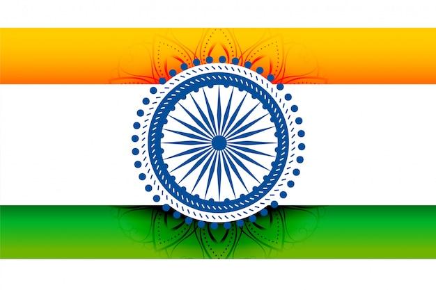 Design de bandeira indiana tricolor com chakra decorativo
