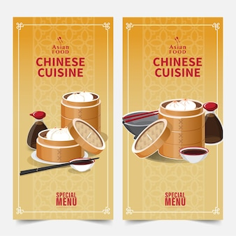 Design de banner banners de comida asiática com ilustração vetorial isolada