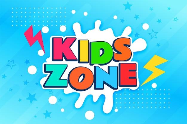 Design de banner colorido da zona infantil