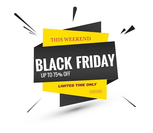 Design de banner com etiqueta de venda na sexta-feira negra