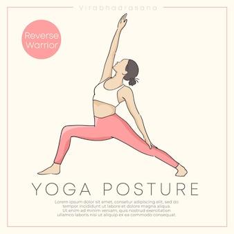 Design de banner com ilustração desenhada à mão de mulher jovem e saudável praticando ioga em roupa pastel.
