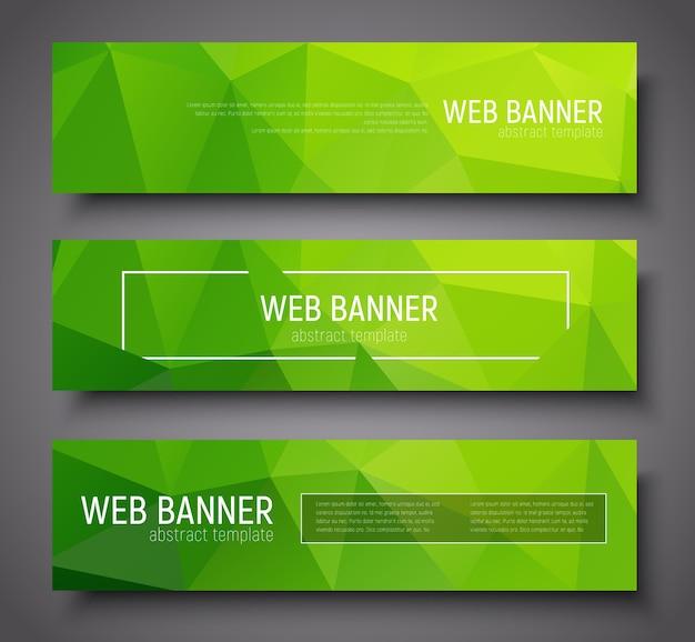 Design de banner com texto, bordas e fundo poligonal abstrato verde. conjunto