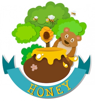 Design de banner com urso e mel