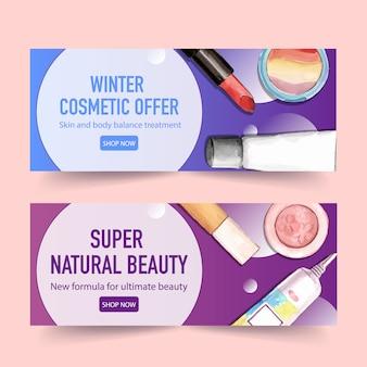 Design de banner cosmético com batom, marca-texto