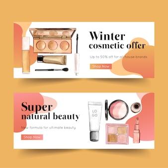 Design de banner cosmético com marca-texto, rímel, pincel