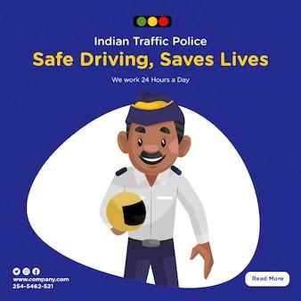 Design de banner da polícia de trânsito indiana, direção segura salva vidas