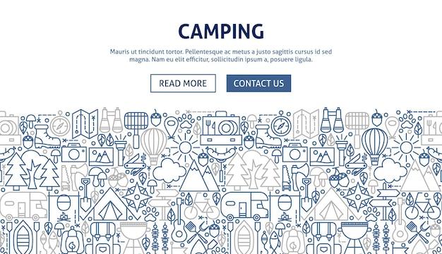 Design de banner de acampamento. ilustração em vetor de linha do conceito de web.