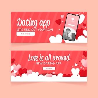 Design de banner de aplicativo de namoro plano