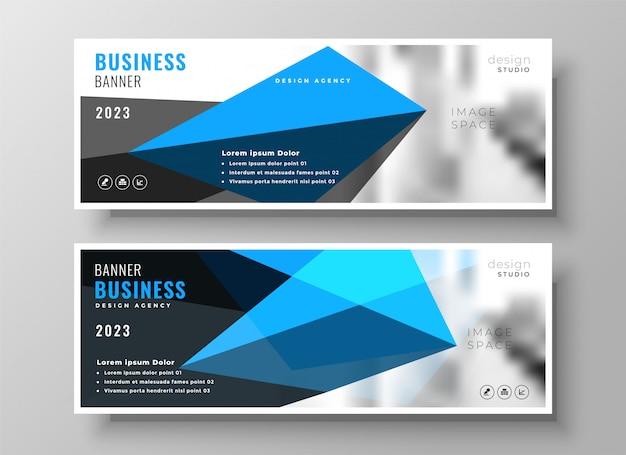 Design de banner de apresentação de negócio geométrico azul moderno
