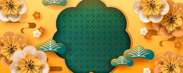 Design de banner de arte em papel e flores com cor ouro e turquesa