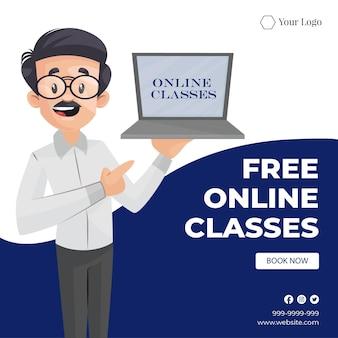 Design de banner de aulas online gratuitas de ilustração em estilo de desenho animado