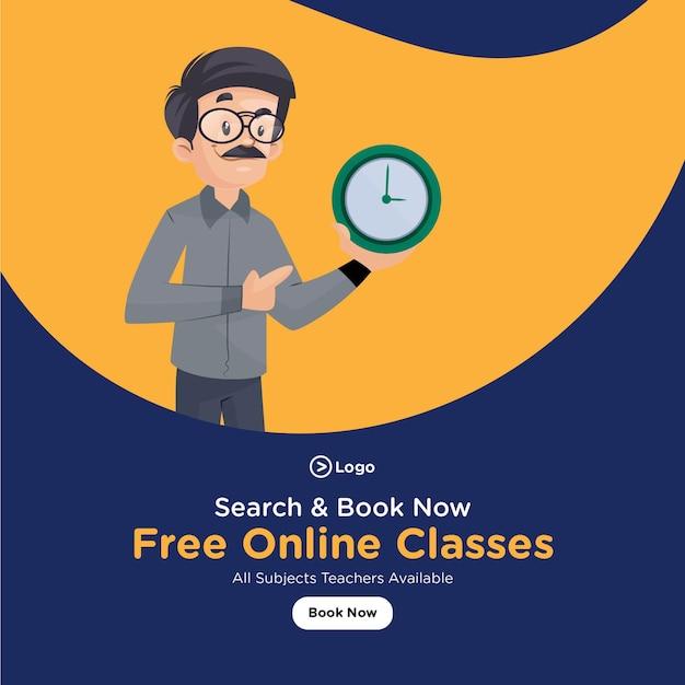 Design de banner de aulas online gratuitas