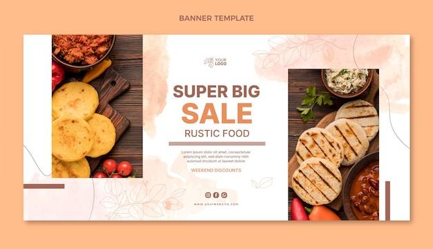 Design de banner de comida plana