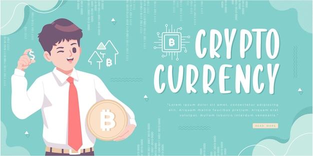 Design de banner de conceito de bitcoin cripto-moeda