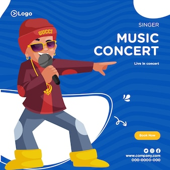 Design de banner de concerto de música ao vivo